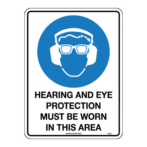 HEARING & EYE PROTECTION MUST BE WORN, 300X225MTL