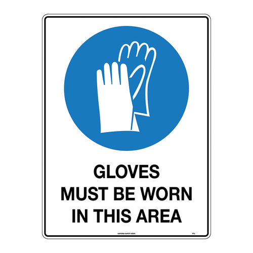450x300mm - Metal - Gloves Must be Worn