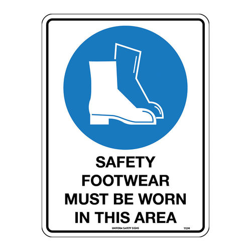 300x225mm - Poly - Safety Footwear Must be Worn in This Area, EA