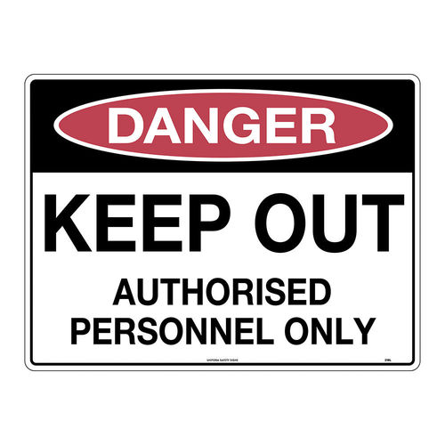 240x180mm - Self Adhesive - Danger Keep Out Authorised Personnel Only, EA