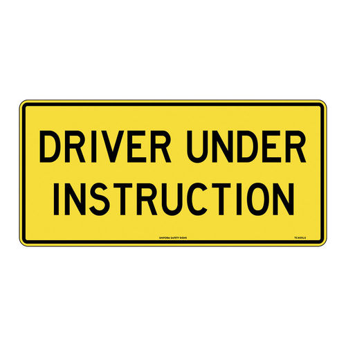 DRIVER UNDER INSTRUCTION YEL, 450X300, POLY, EA