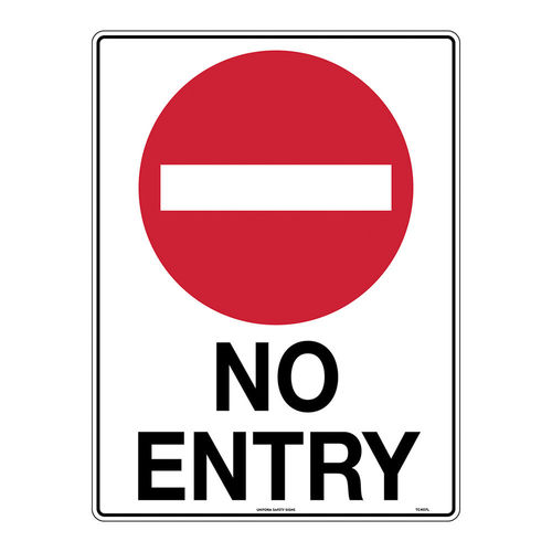 NO ENTRY, 600X450MM METAL RED ON WHITE, BLK TEXT