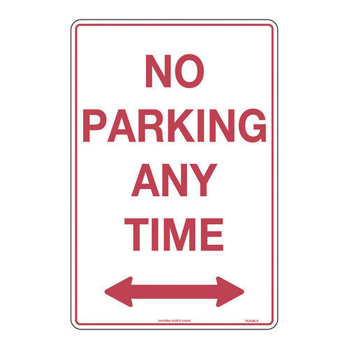 NO PARKING , 450X300 MTL RED ON WHITE