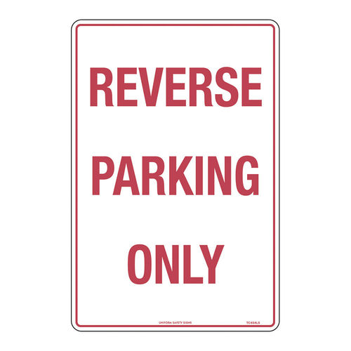 REVERSE PARKING ONLY 450x300,MTL, RED ON WHITE
