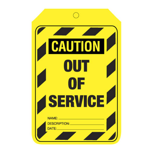 Caution Out Of Service .. Tags, C/Stock, 90x140mm , Pkt of 100