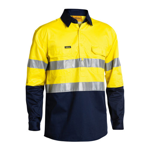 BISLEY 2 TONE HI VIS COOL LIGHTWEIGHT CLOSED FRONT SHIRT 3M REFLECTIVE TAPE