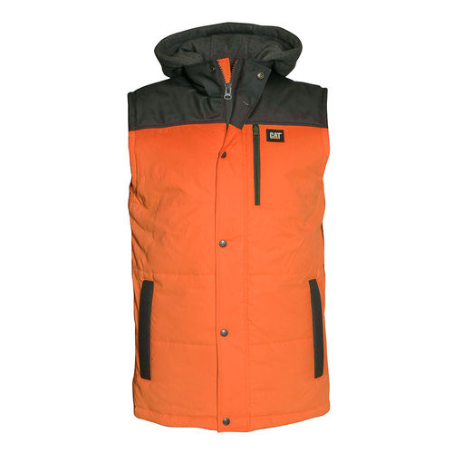 CAT HI VIS HOODED WORK VEST