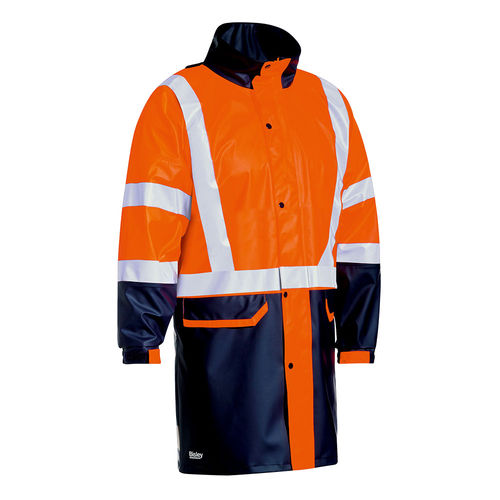BISLEY TAPED TWO TONE HI VIS STRETCH PU RAIN COAT