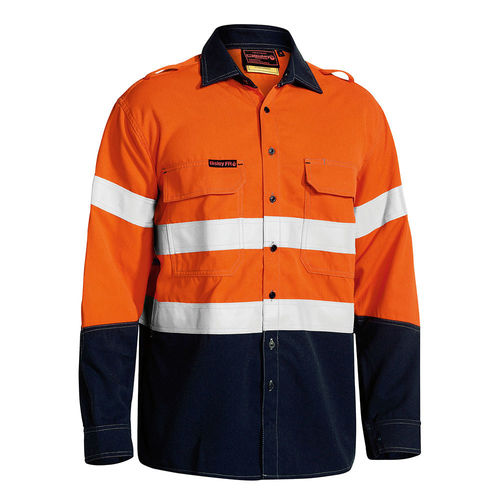BISLEY TENCATE TECASAFE PLUS TAPED 2 TONE HI VIS FR VENTED LONG SLEEVE SHIRT