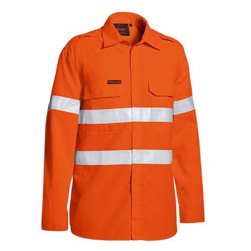 BISLEY TENCATE TECASAFE PLUS TAPED HI VIS FR LIGHTWEIGHT VENTED LONG SLEEVE SHIRT