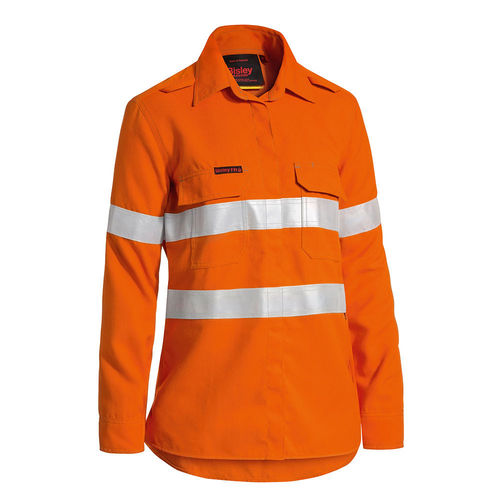 BISLEY TENCATE TECASAFE WOMEN'S TAPED HI VIS FR LIGHTWEIGHT VENTED LONG SLEEVE SHIRT
