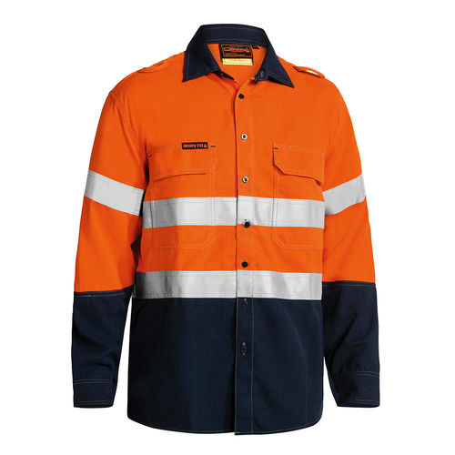 BISLEY TENCATE TECASAFE PLUS TAPED 2 TONE HI VIS FR LIGHT WEIGHT VENTED SHIRT