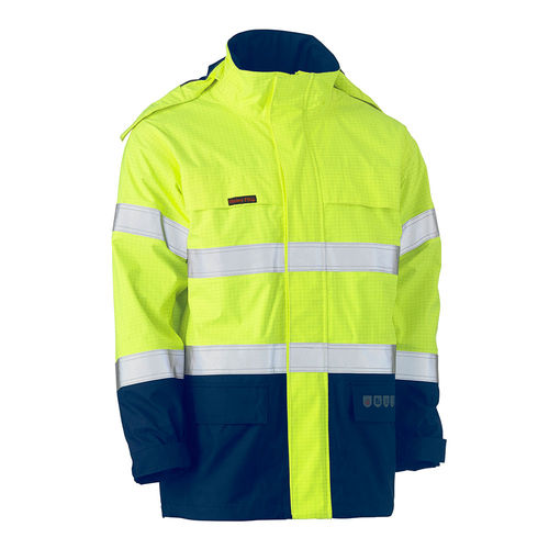 BISLEY TAPED TWO TONE HI VIS FR WET WEATHER SHELL JACKET