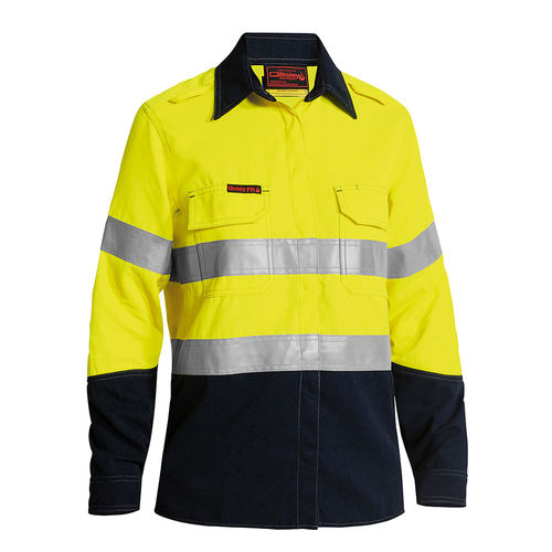 BISLEY TENCATE TECASAFE PLUS WOMEN'S TAPED TWO TONE FR HI VIS LIGHTWEIGHT VENTED SHIRT