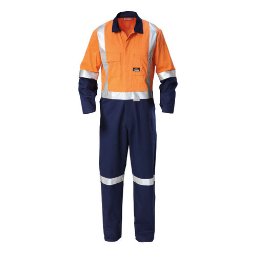 HARD YAKKA HI VIS TWO TONE COTTON DRILL COVERALL WITH 3M TAPE
