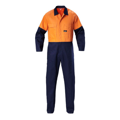 HARD YAKKA FOUNDATIONS HI VIS TWO TONE COTTON DRILL COVERALL