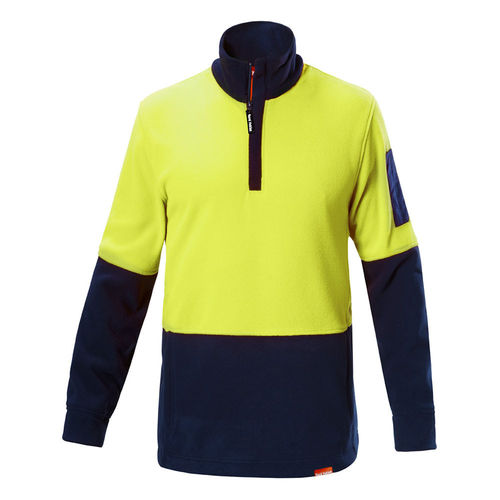 HARD YAKKA FOUNDATIONS HI VISIBILITY TWO TONE POLAR FLEECE 1/4 ZIP JUMPER