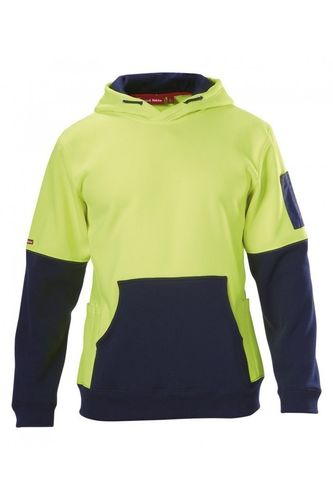 HARD YAKKA FOUNDATIONS HI VISIBILITY TWO TONE BRUSHED FLEECE HOODIE