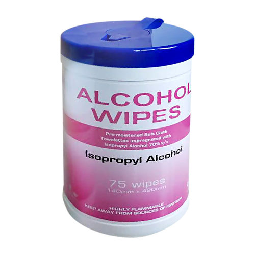 ALCOHOL WIPES - ISOPROPYL ALCOHOL 70% , TUB x75
