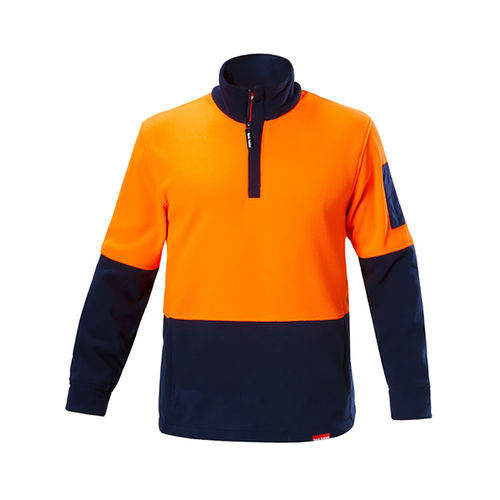 YAKKA HI-VIS BRUSHED FLEECY 1/4 ZIP JUMPER